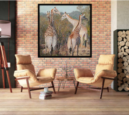 giraffe painting on brick wall
